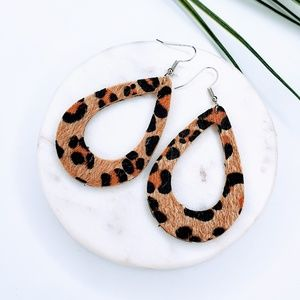 5 for $25 Textured Leopard Print Cut Out Earrings